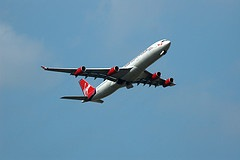 Virgin airbus climbing